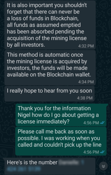 Fake Mining Investment Scheme Conversation 3