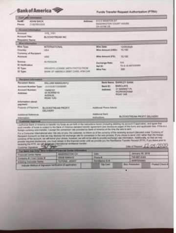 Fake Bank of America statement