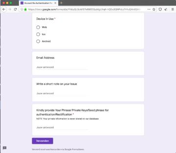 Fake Blockstream Green Support Form Version 2